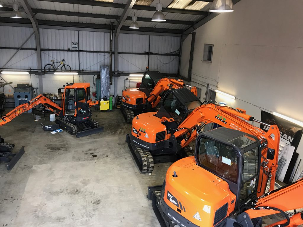 doosan excavators at bridgend workshop