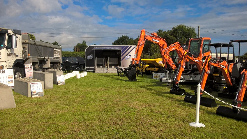 range of doosan construction machines at fishguard show