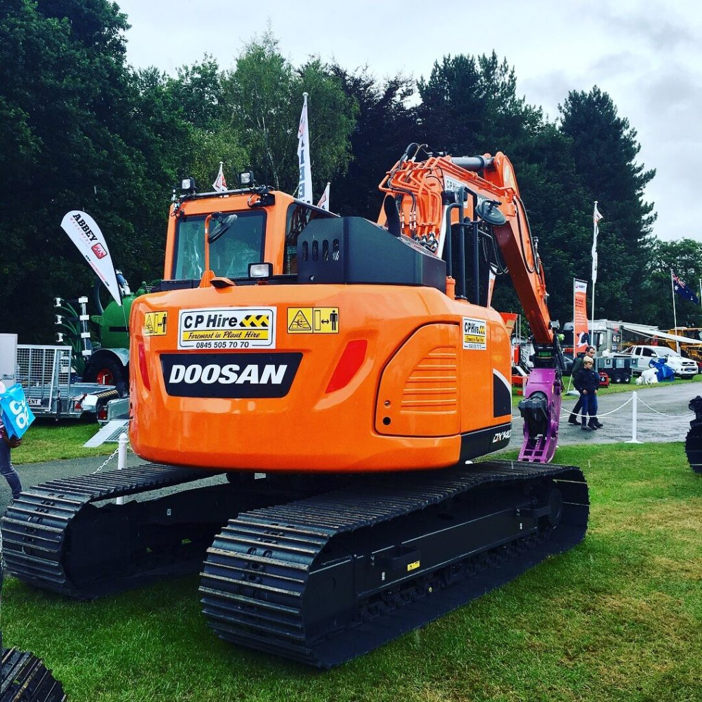doosan dx140 excavator at royal welsh show