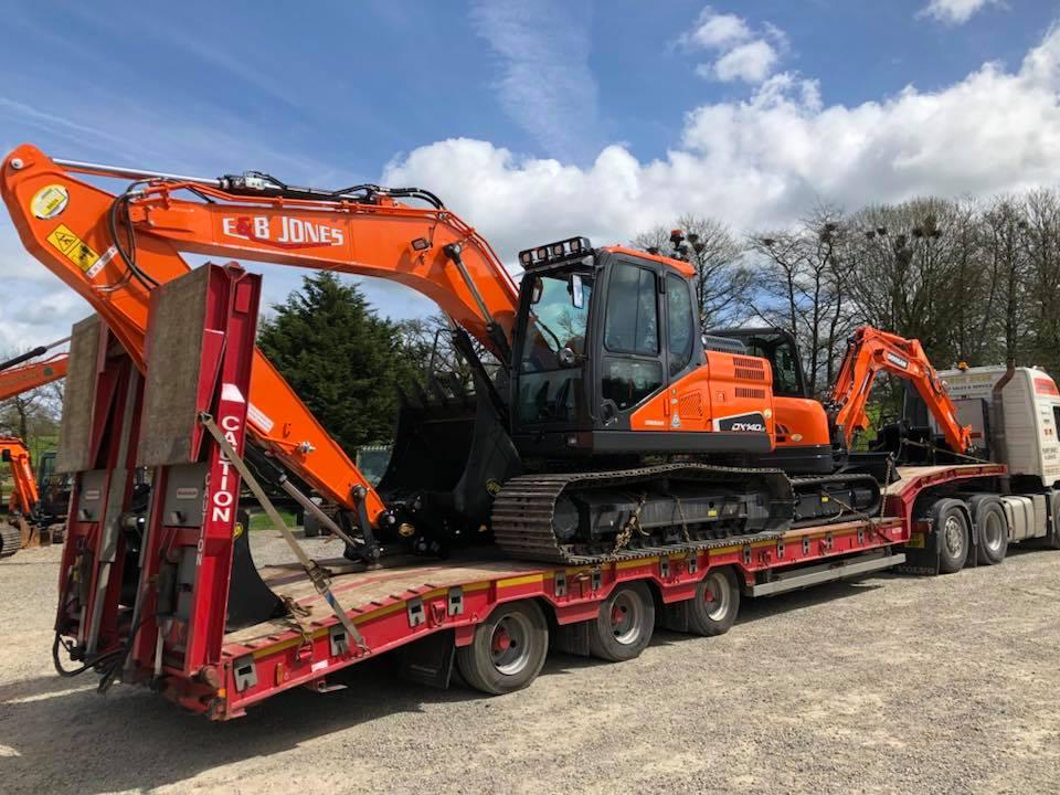 doosan dx140 excavator out for delivery